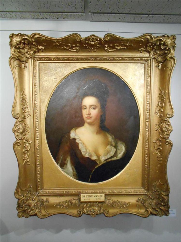 School of Godfrey Kneller (British, 1646-1723)      Bust-Length Portrait of Princess Anne