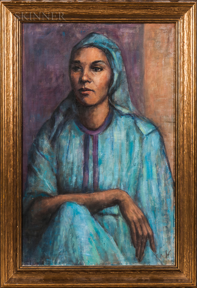 Georges Andre Klein (French, 1901-1992)    Woman in Blue Costume and Headscarf