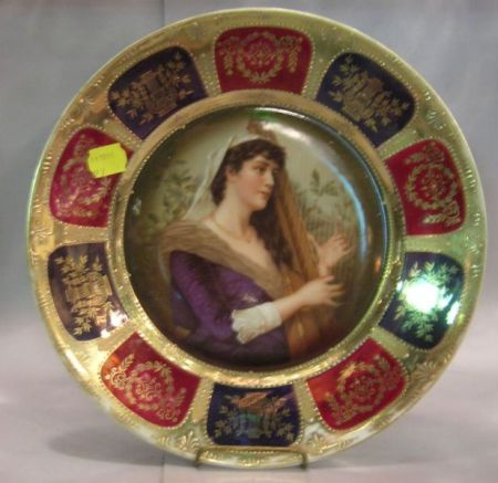 German Gilt and Transfer Portrait Decorated Porcelain Cabinet Plate