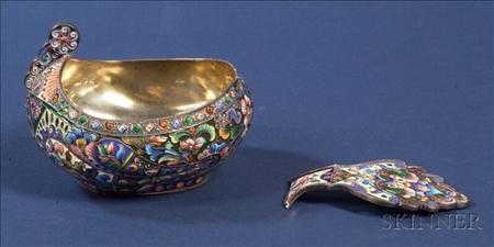 Russian Silver Enamel Kovsh