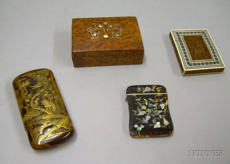 Two Asian Export Card Cases, a Japanese Lacquer Cigar Case, and an Inlaid Burlwood Box/Humidor.