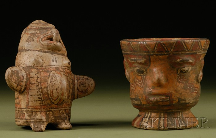 Two Polychrome Pottery Effigy Vessels
