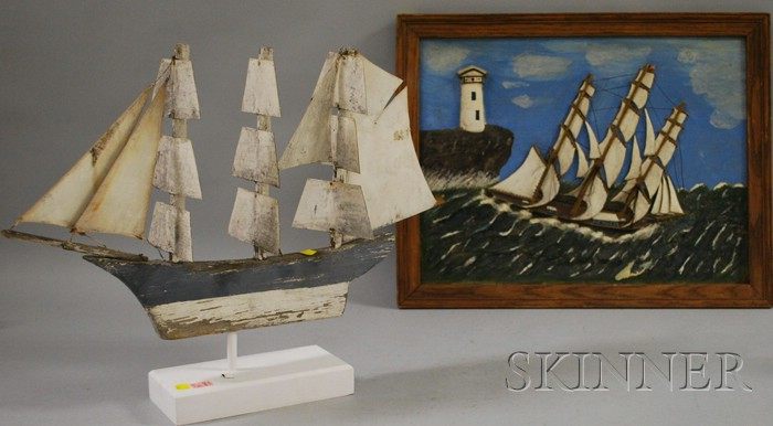 Framed Folk Carved and Painted Wood Ship and Lighthouse Scenic Panel and a Painted Wood and Tin Three-Masted Sailing Ship Weather Va...