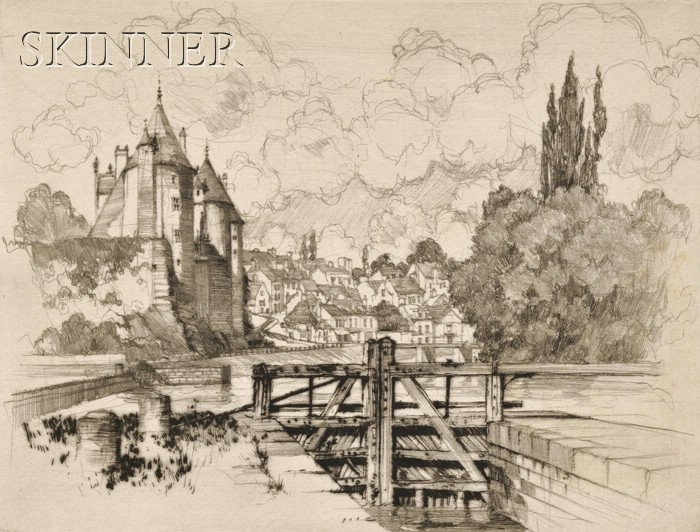 Samuel V. Chamberlain (American, 1895-1975)      Untitled (Chateau of the Ducs de Rohan, Josselin)