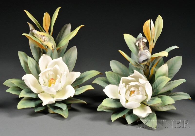 Pair of Dorothy Doughty for Royal Worcester Bone China Magnolia Warblers