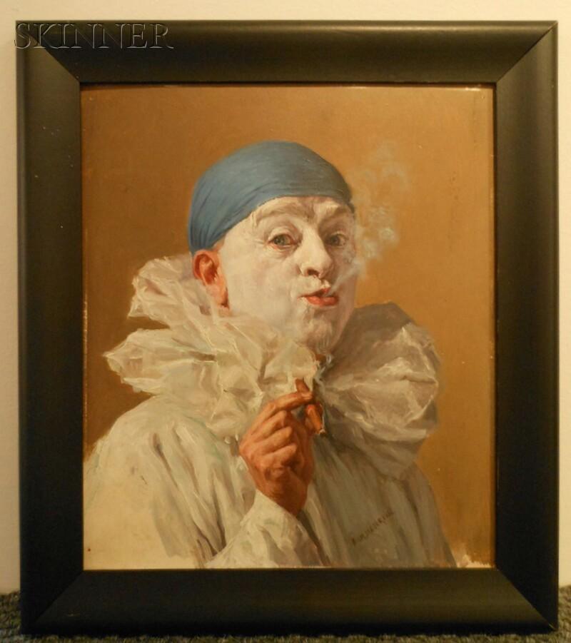 Armand Francois Joseph Henrion (Belgian, 1875-1958)      Portrait of a Clown with a Cigar