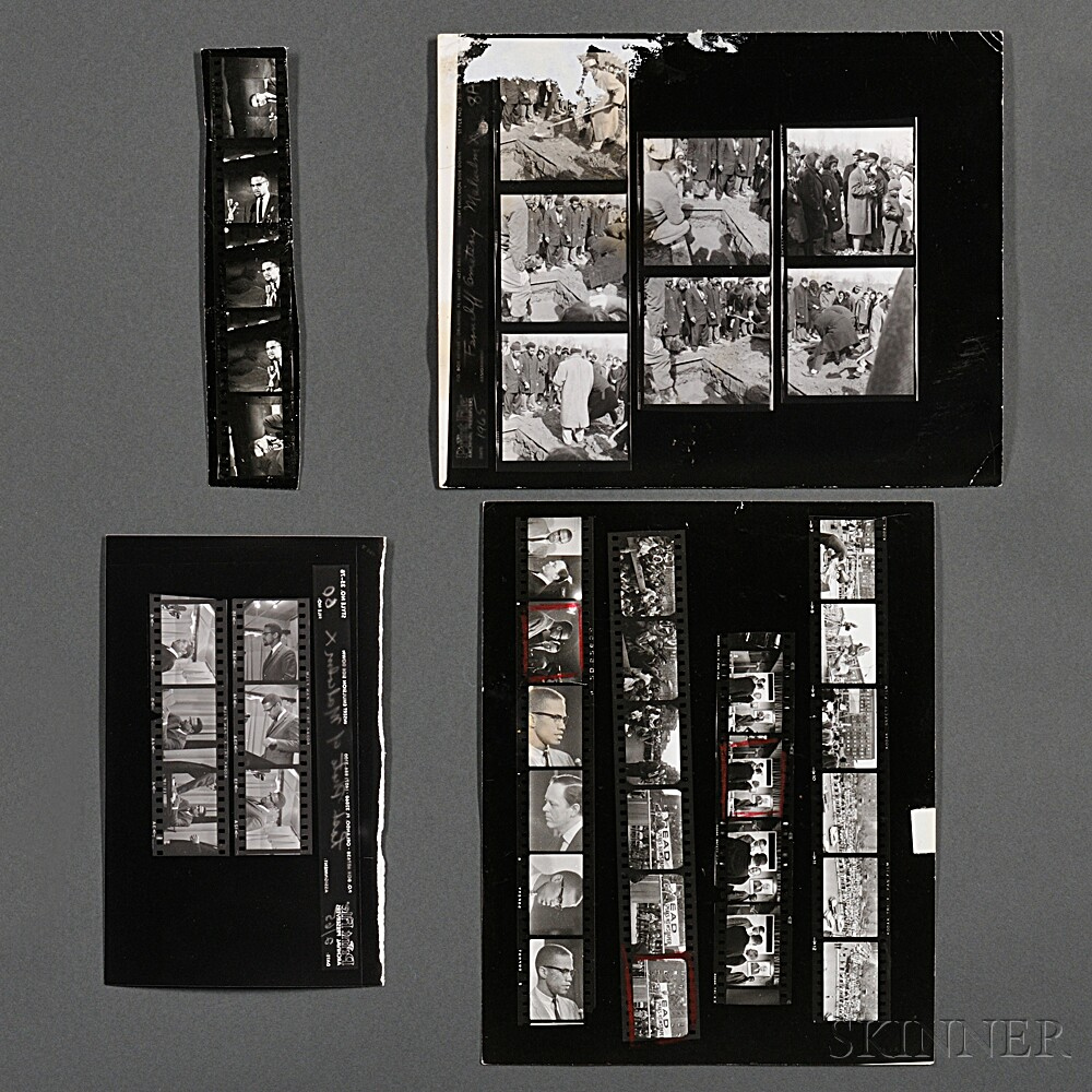 Malcolm X (1925-1965) Ten Contact Sheets of Photographs Taken by Robert Haggins (1922-2006)