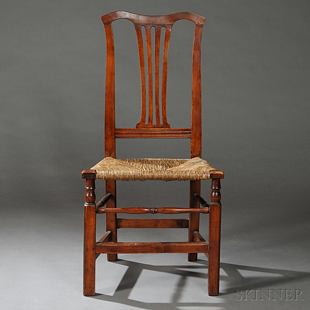 Transitional Chippendale Cherry Side Chair