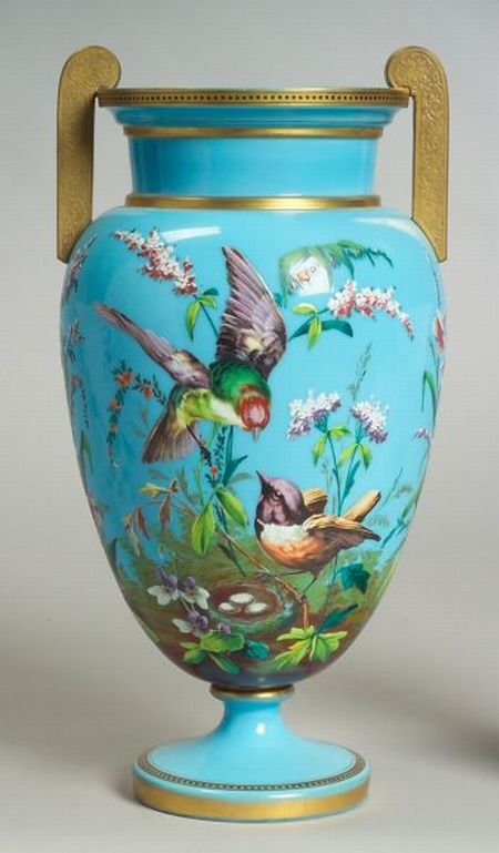French Opaline and Enamel Decorated Glass Vase
