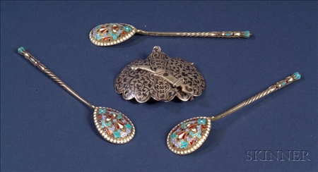 Three Russian Silver Enameled Teaspoons and a Russian Silver Niello Buckle