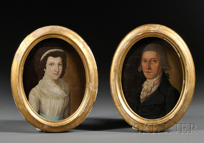 German/American School, 18th Century      Pair of Portraits of a Husband and Wife.