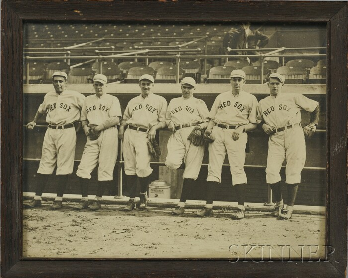 Framed Albumen Photograph of the 1912 Boston Red Sox Pitching Staff