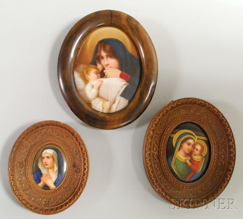 Three Miniature Wood-framed Hand-painted Portraits on Porcelain Depicting the   Madonna.     Estimate $300-500