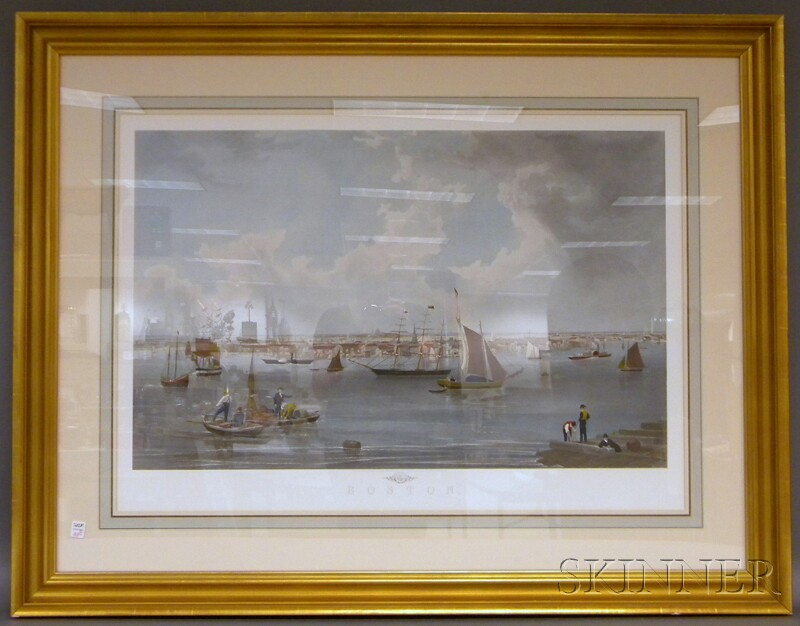 Three Large Framed Thomas M. Hoyne Sailing Prints and a Framed Hand-colored Print   Boston