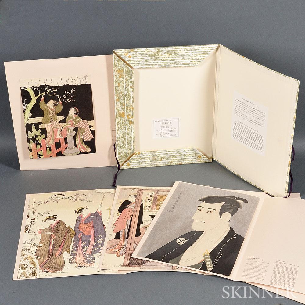 Boxed Set of Six Reproduced Ukiyoe   Prints