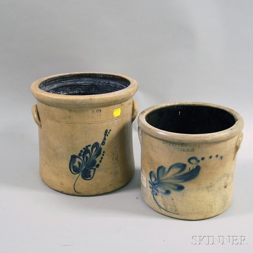 Two Cobalt-decorated Stoneware Crocks