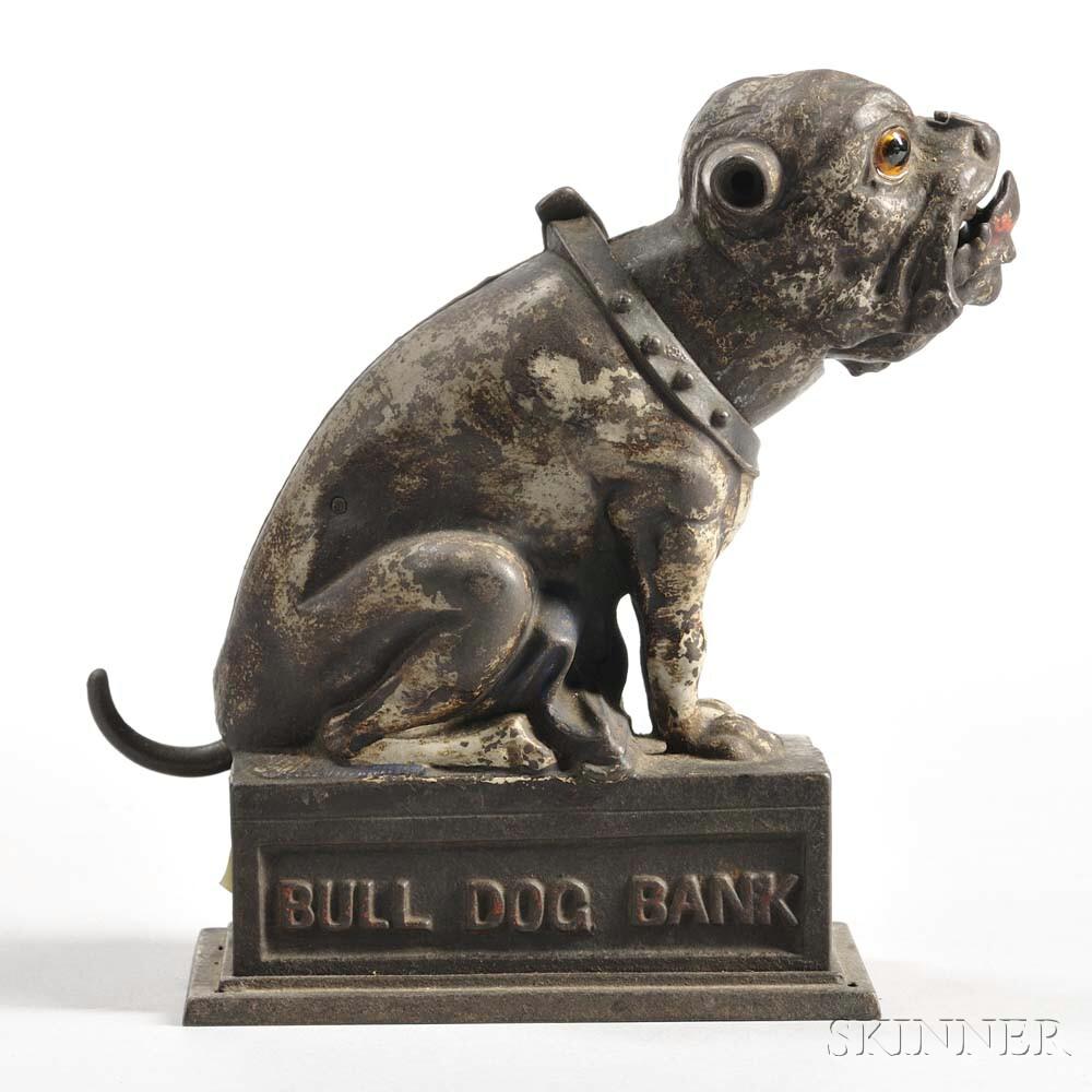 """J. & E. Stevens Co. """"Bull Dog"""" Mechanical Bank"""