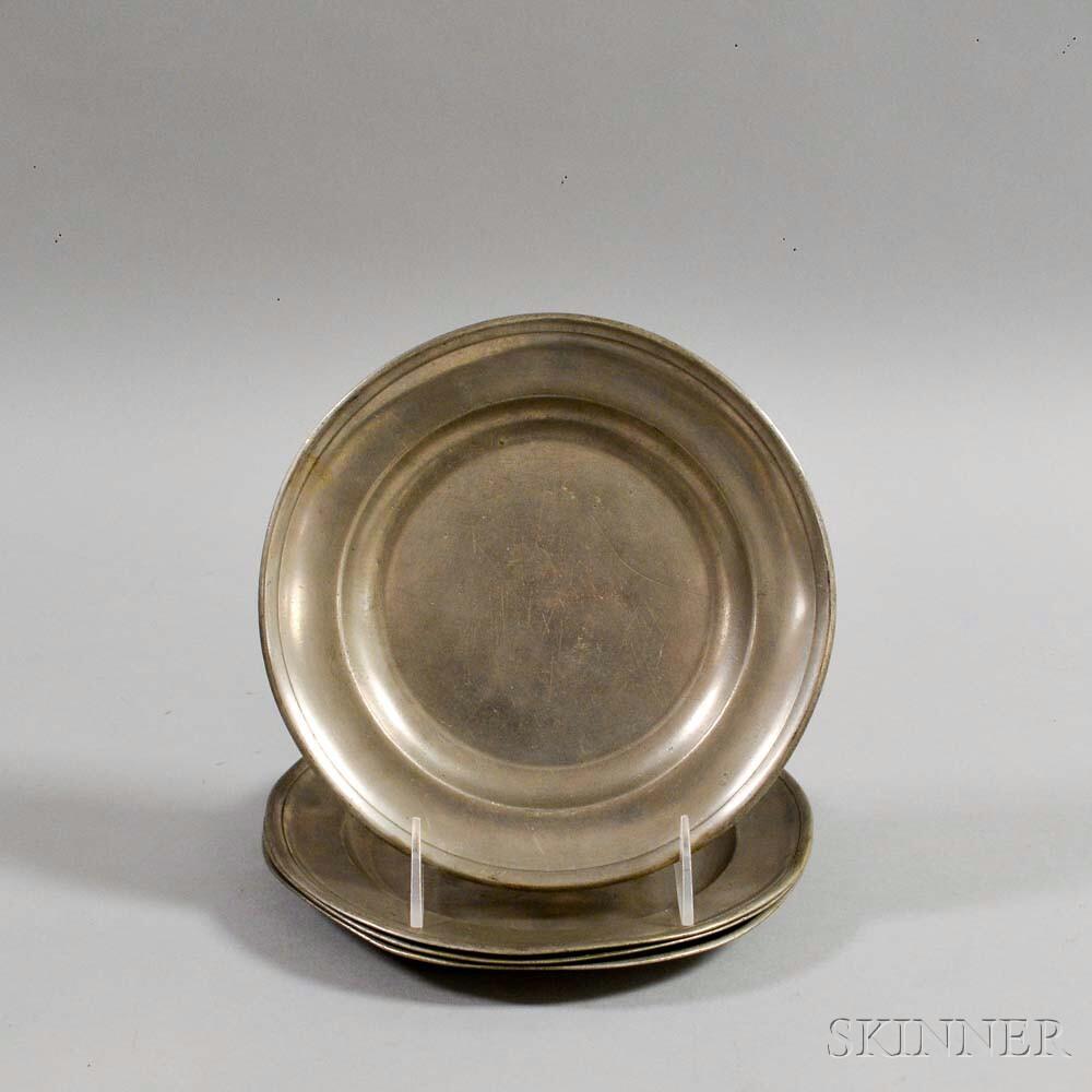 Set of Four Samuel Danforth Pewter Dishes
