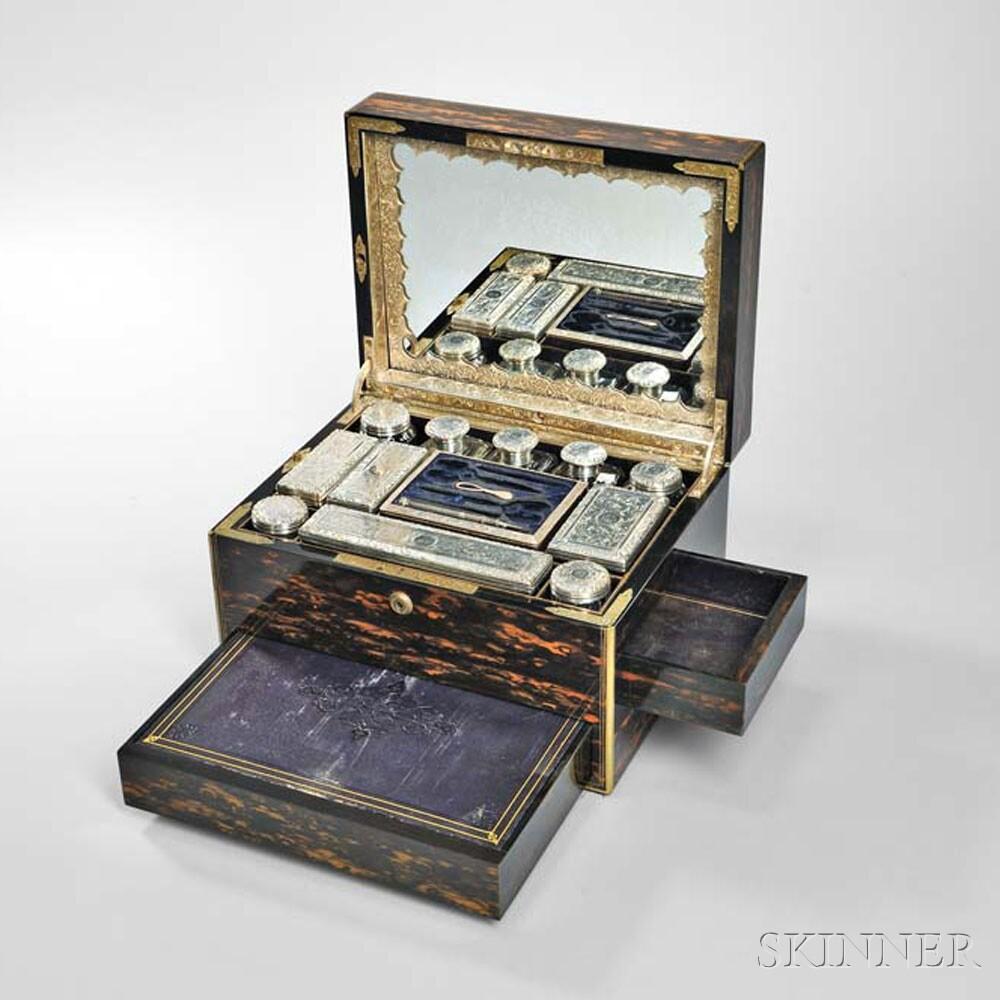 Victorian Brass-inlaid and Coromandel Toiletry Box