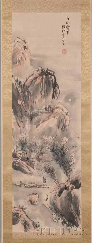 Hanging Scroll Depicting a Moonlit Landscape
