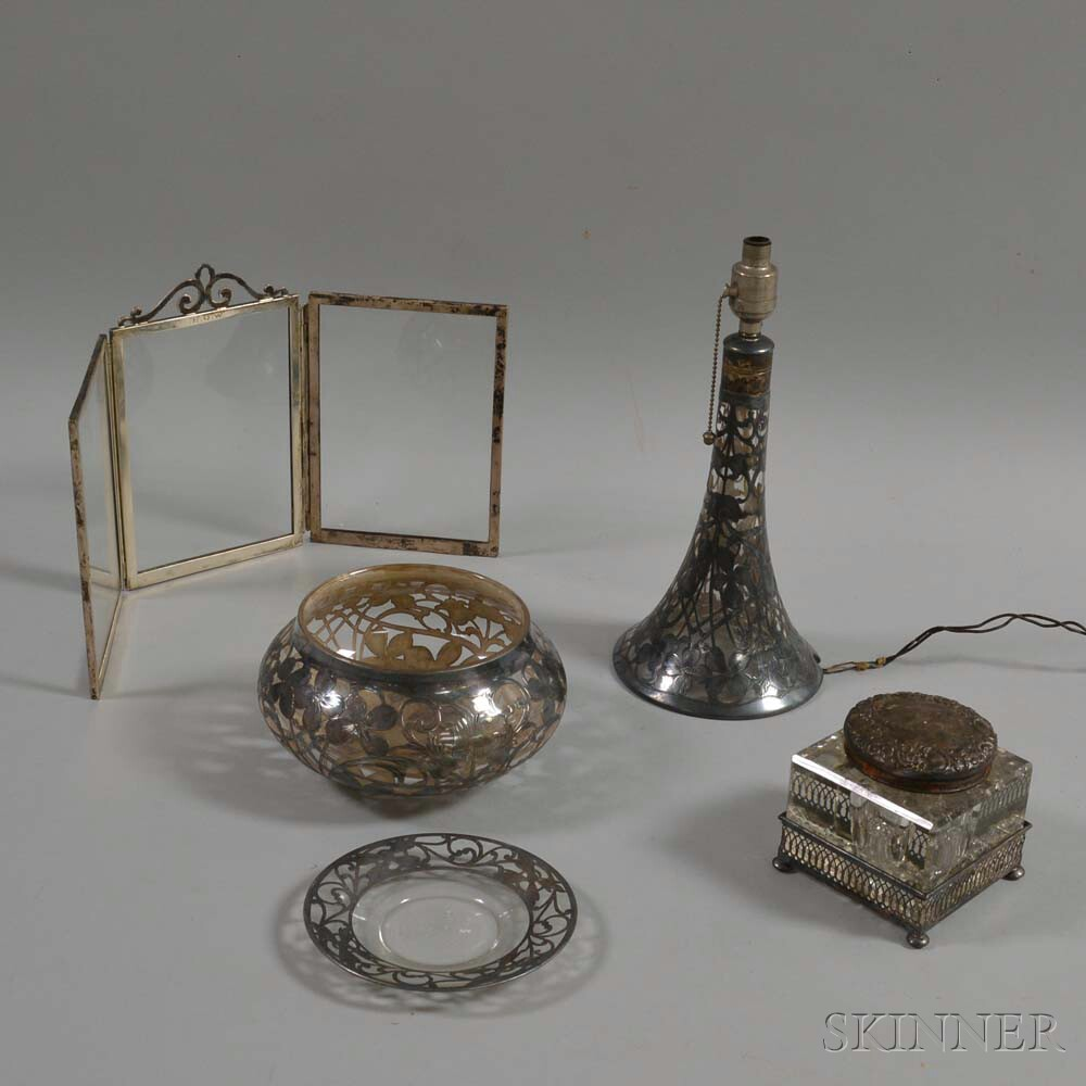 Five Silver-mounted Glass Table Items