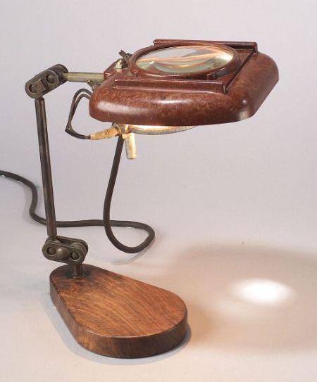 Bakelite Desk Lamp with Magnifier