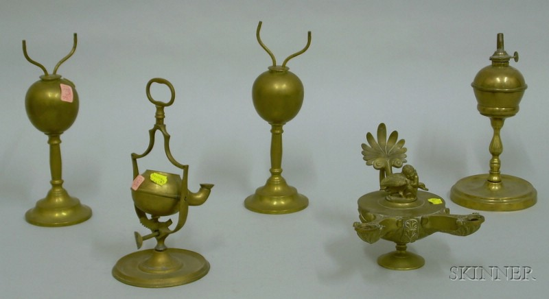 Five Brass Lamps