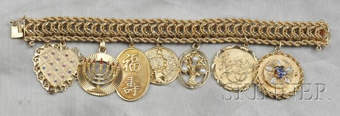 14kt Gold Gem-set Charm Bracelet