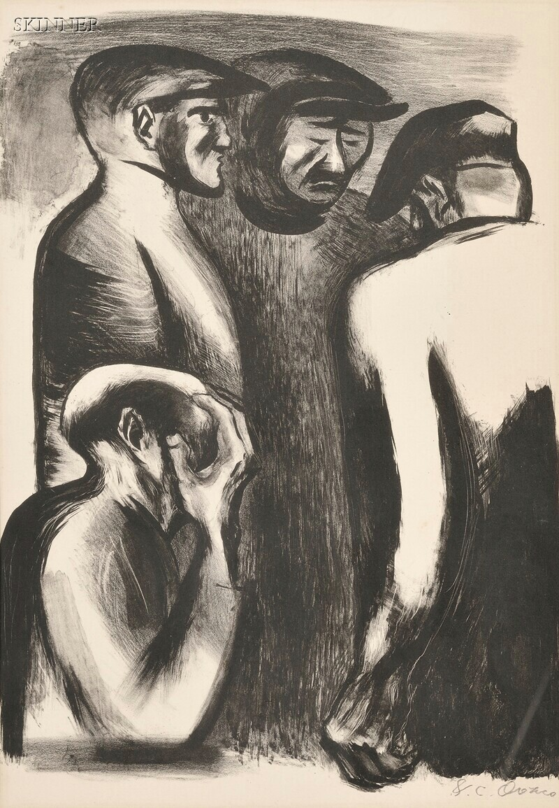 José Clemente Orozco (Mexican, 1883-1949)      The Unemployed - Paris (Desocupado)