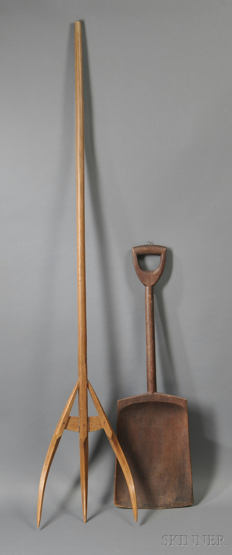 Shaker Wooden Hay Fork and Shovel