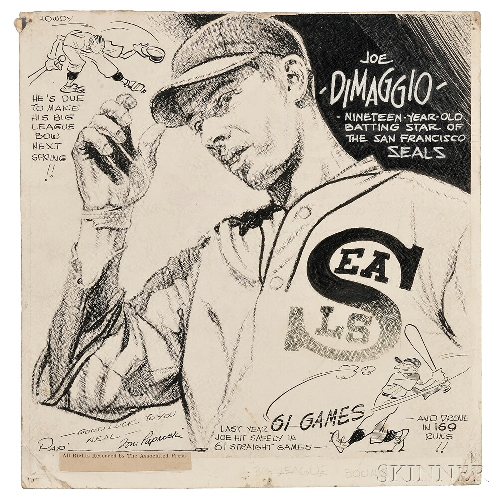 Cartoon Art, Large Archive of Signed Drawings, 1930s.