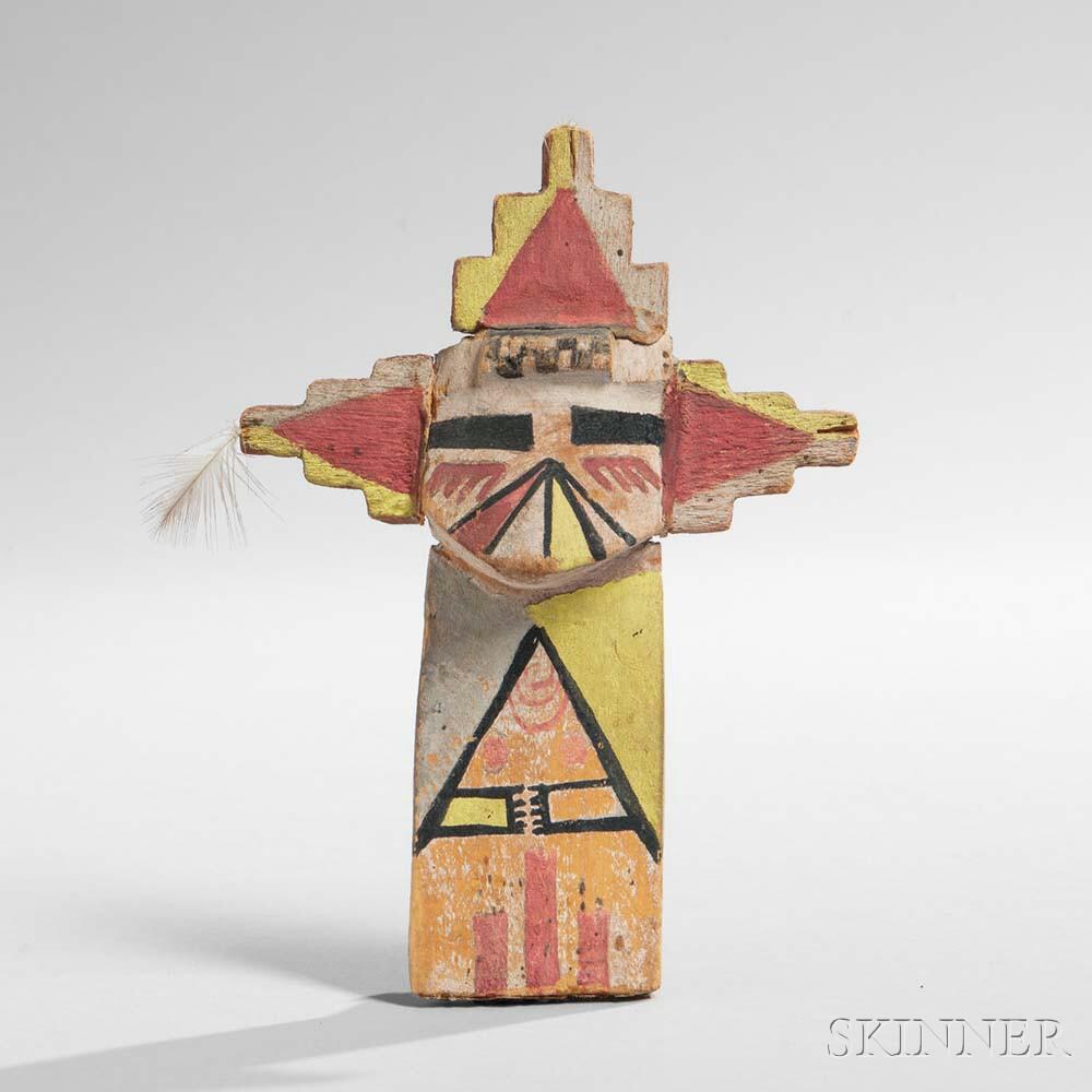 Hopi Polychrome Carved Wood Katsina, Shalako Mana