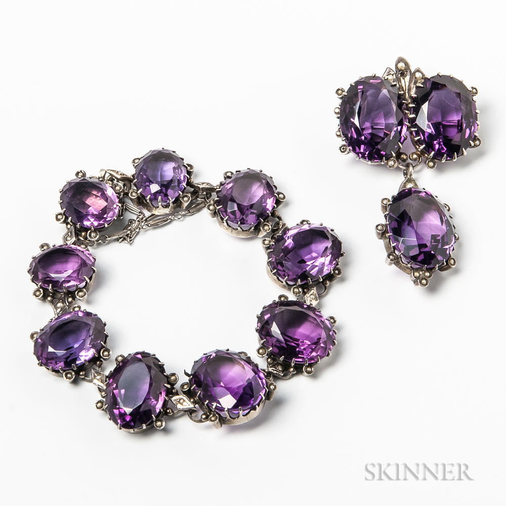 Silver-mounted Amethyst Bracelet and Brooch