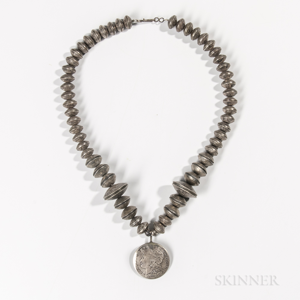 Navajo Mercury Dime and Silver Dollar Silver Necklace
