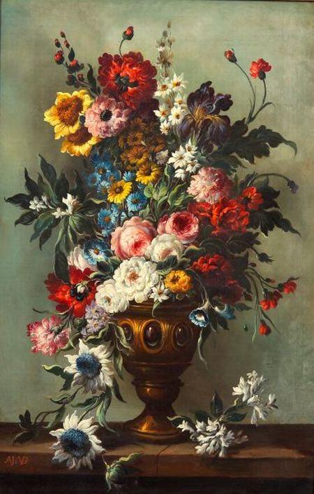 Attributed to Adrien Joseph Verhoeven-Ball (Belgian, 1824-1882)    Formal Floral Still Life in a Golden Urn