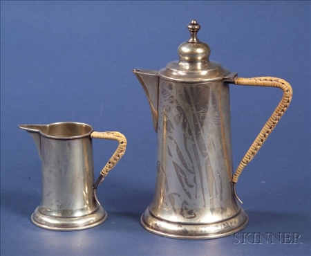 Austro-Hungarian Silver Demitasse Pot and Creamer