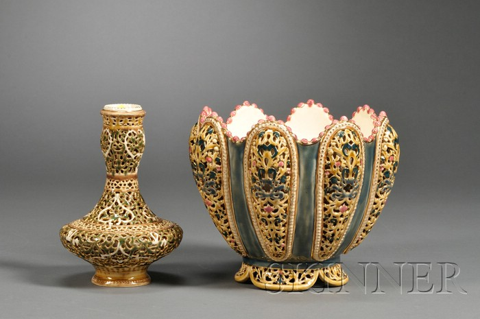 Zsolnay Jardiniere and Vase