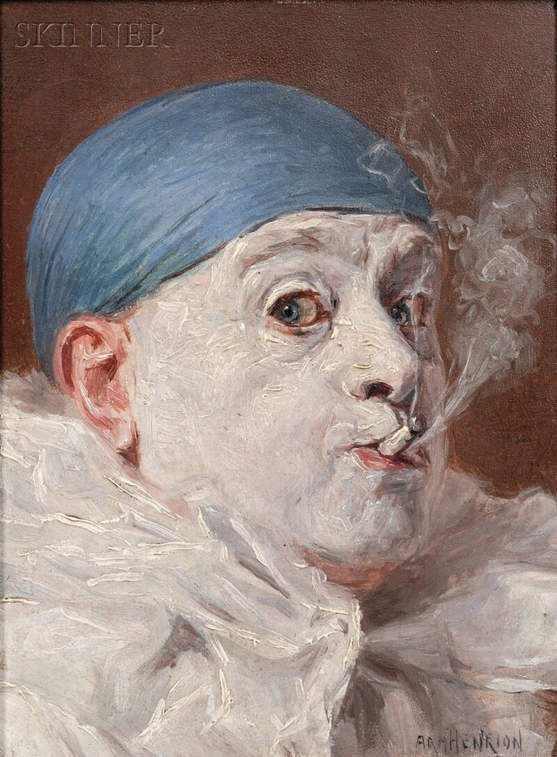 Armand Francois Joseph Henrion (Belgian, 1875-1958)      Two Portraits of Clowns:  Peering through a Monocle