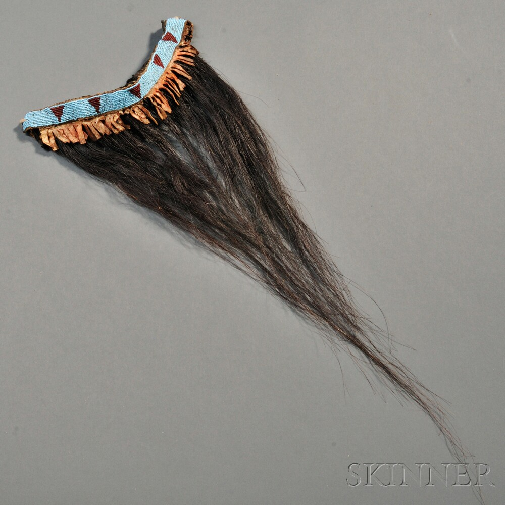 Northern Plains Beaded Horsehair Necklace or Hairdrop