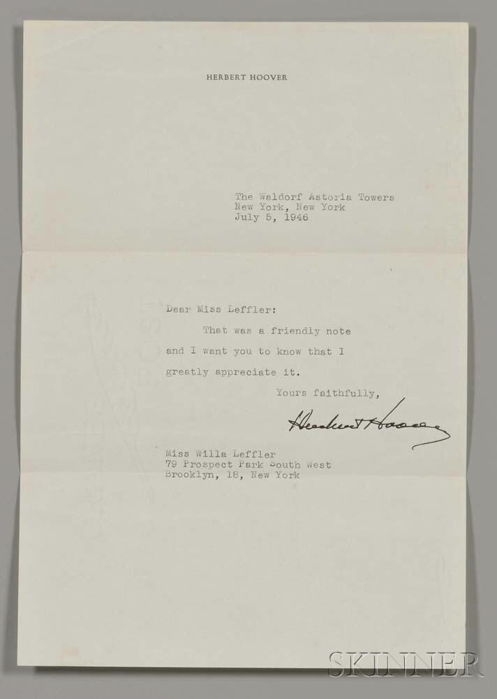 Hoover, Herbert (1874-1964) Typed Letter Signed, New York, 5 July 1946.