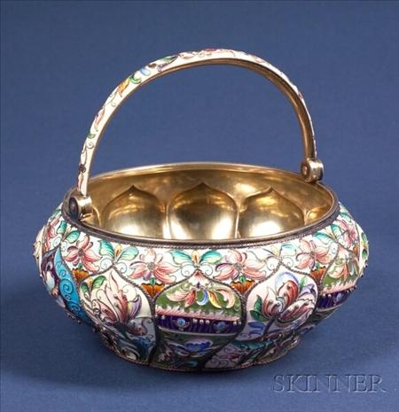 Russian Silver Enamel Sugar Bowl