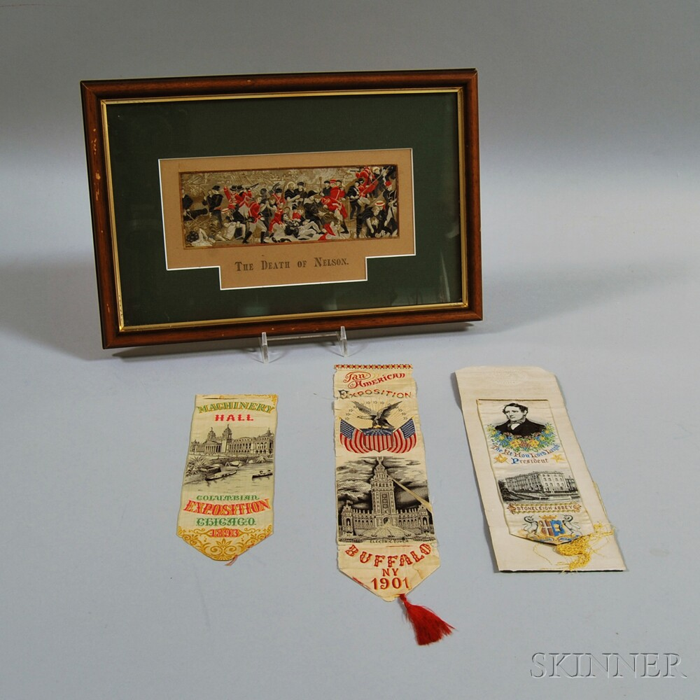 Four Woven Silk Commemorative and Souvenir Ribbons