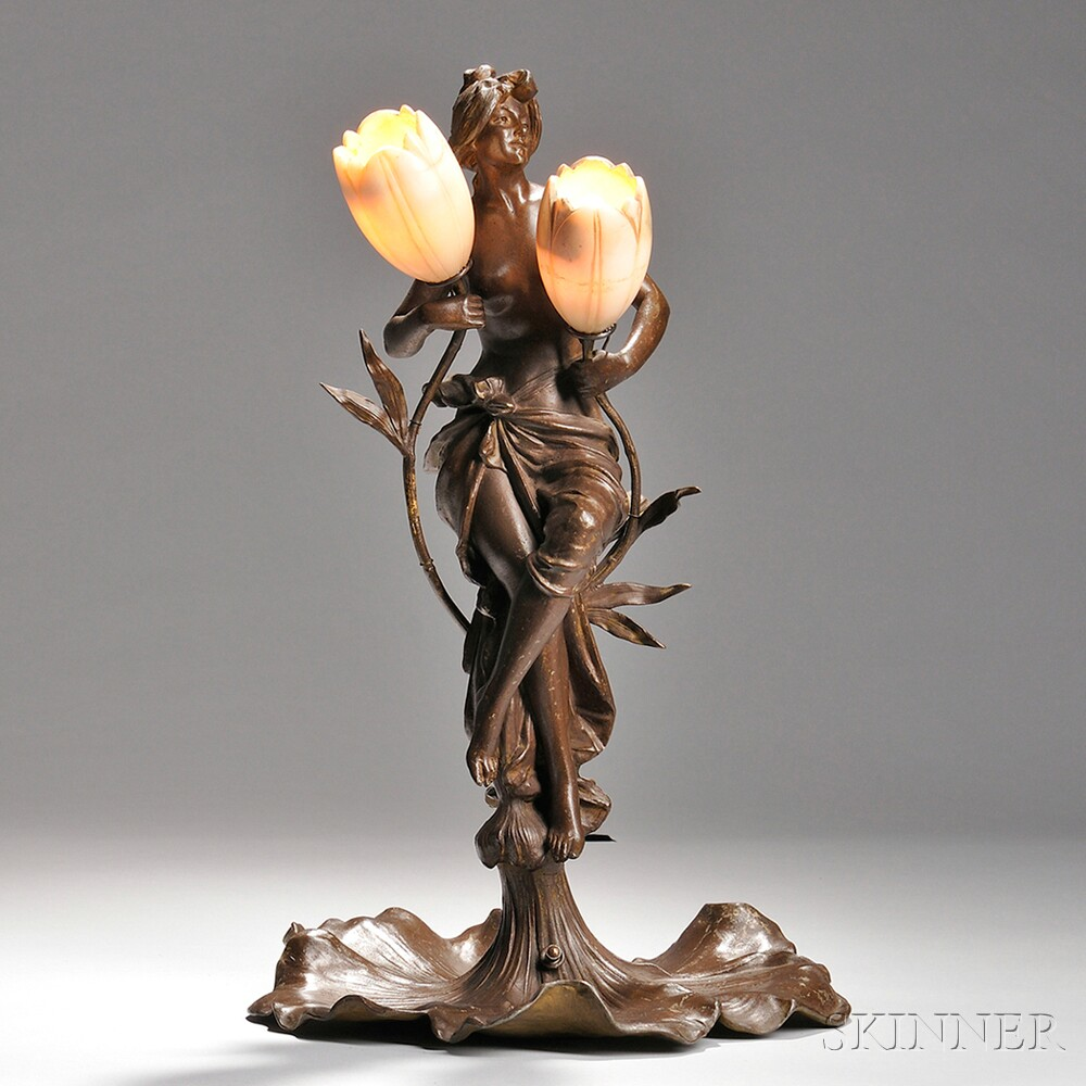 Art Nouveau Figural Lamp with Alabaster Shades