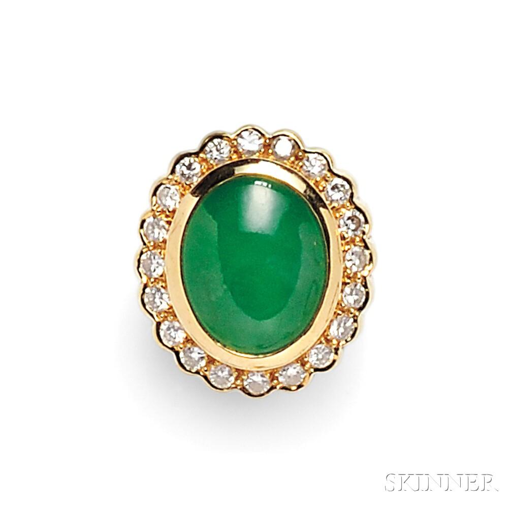 18kt Gold, Jadeite, and Diamond Ring