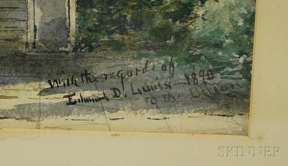 Edmund Darch Lewis (American, 1835-1910)      Garden View with Castle.