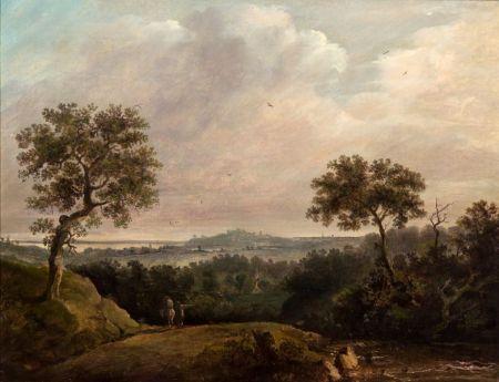 Patrick Nasmyth (Scottish, 1787-1831)    Expansive Landscape with Two Figures