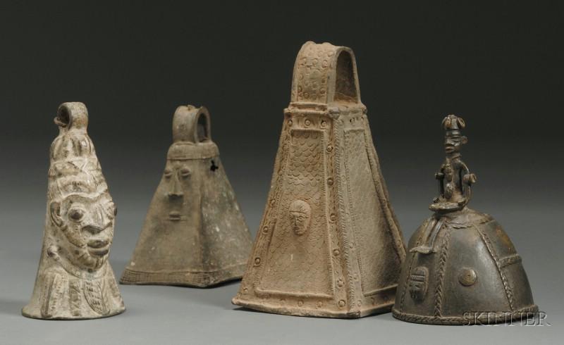 Four African Bronze Bells