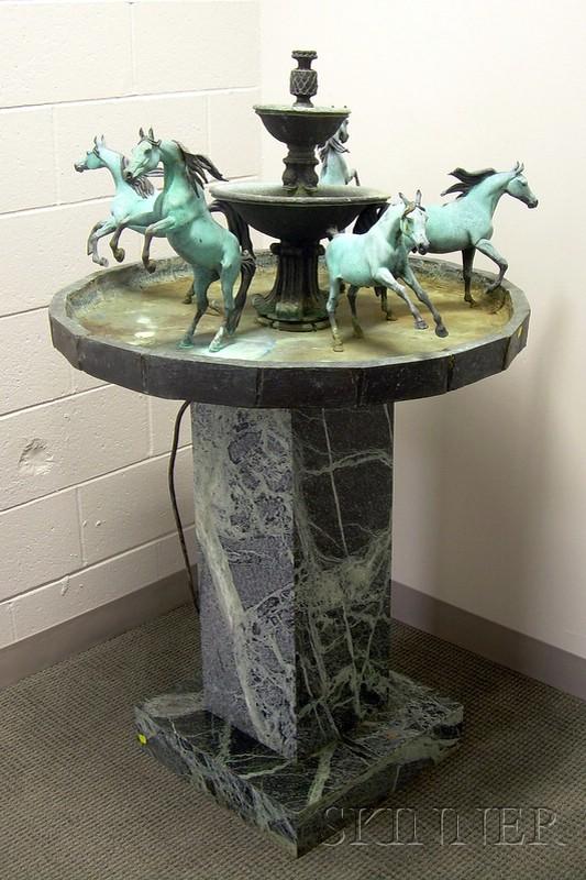 Bob Parks (American, b. 1948)      Bronze Horse Fountain