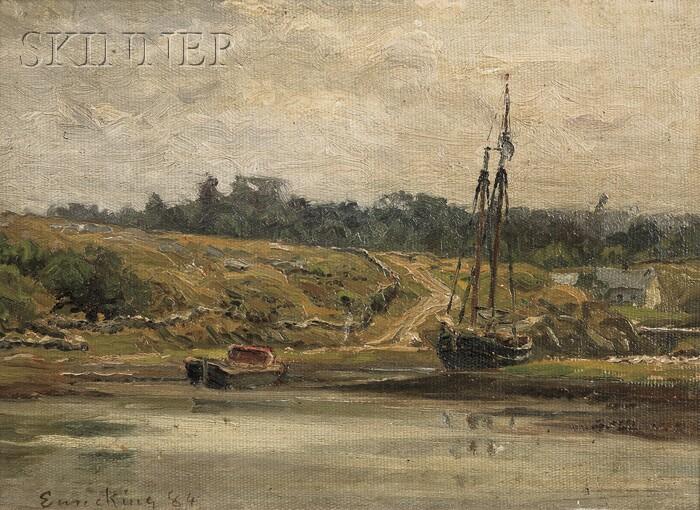 John Joseph Enneking (American, 1841-1916)      Harbor Scene - Low Tide