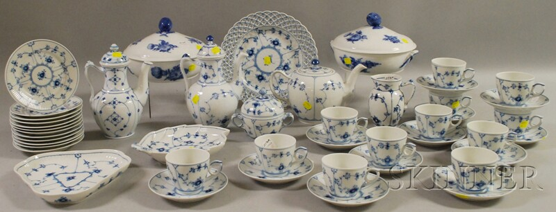 Forty-six Pieces of Royal Copenhagen Blue and White-decorated Porcelain Tableware.     Estimate $300-500